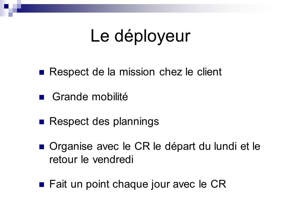 Le déployeur Respect de la mission chez le client Grande mobilité Respect des plannings Organise avec le CR le départ du lundi et le retour le vendred