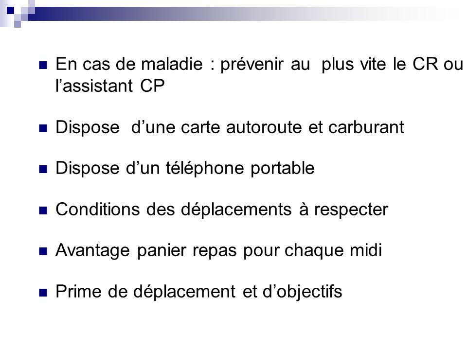 En cas de maladie : prévenir au plus vite le CR ou lassistant CP Dispose dune carte autoroute et carburant Dispose dun téléphone portable Conditions d
