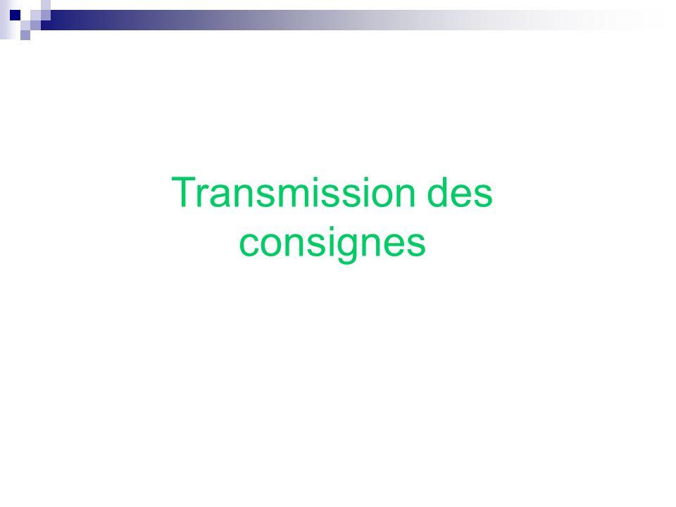 Transmission des consignes