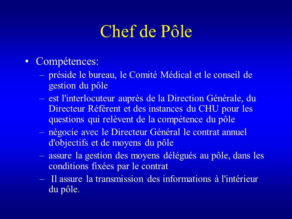 Chef de Pôle Compétences: –préside le bureau, le Comité Médical et le conseil de gestion du pôle –est l'interlocuteur auprès de la Direction Générale,