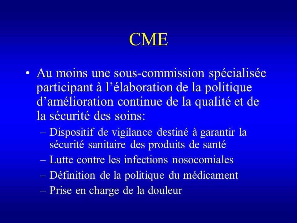 CME Au moins une sous-commission spécialisée participant à lélaboration de la politique damélioration continue de la qualité et de la sécurité des soi