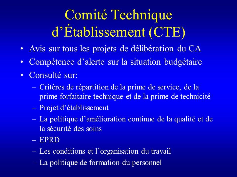 Comité Technique dÉtablissement (CTE) Avis sur tous les projets de délibération du CA Compétence dalerte sur la situation budgétaire Consulté sur: –Cr