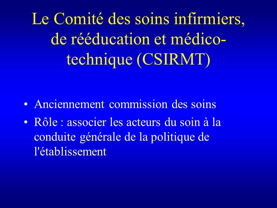 Le Comité des soins infirmiers, de rééducation et médico- technique (CSIRMT) Anciennement commission des soins Rôle : associer les acteurs du soin à l