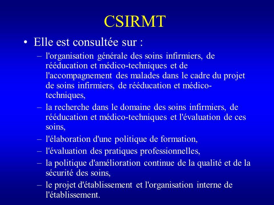 CSIRMT Elle est consultée sur : –l'organisation générale des soins infirmiers, de rééducation et médico-techniques et de l'accompagnement des malades