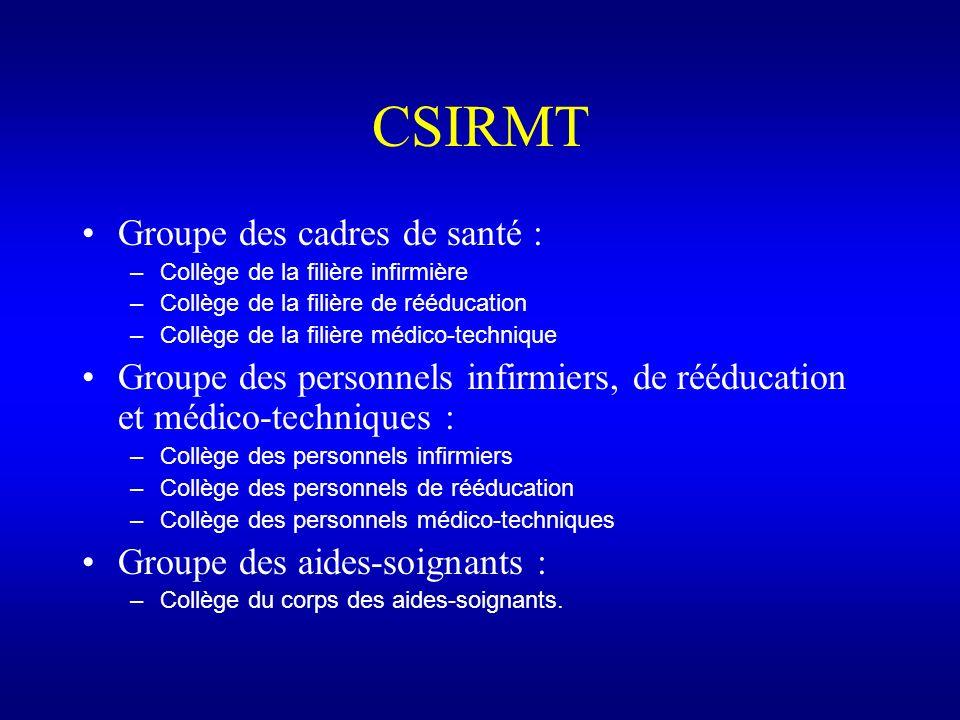 CSIRMT Groupe des cadres de santé : –Collège de la filière infirmière –Collège de la filière de rééducation –Collège de la filière médico-technique Gr