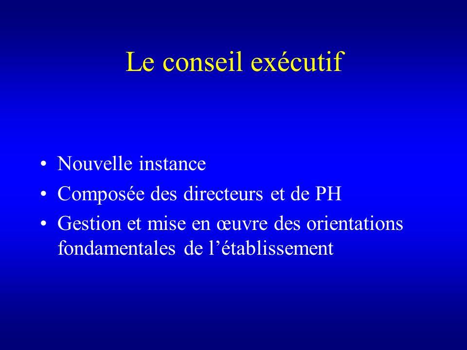 Le conseil exécutif Nouvelle instance Composée des directeurs et de PH Gestion et mise en œuvre des orientations fondamentales de létablissement