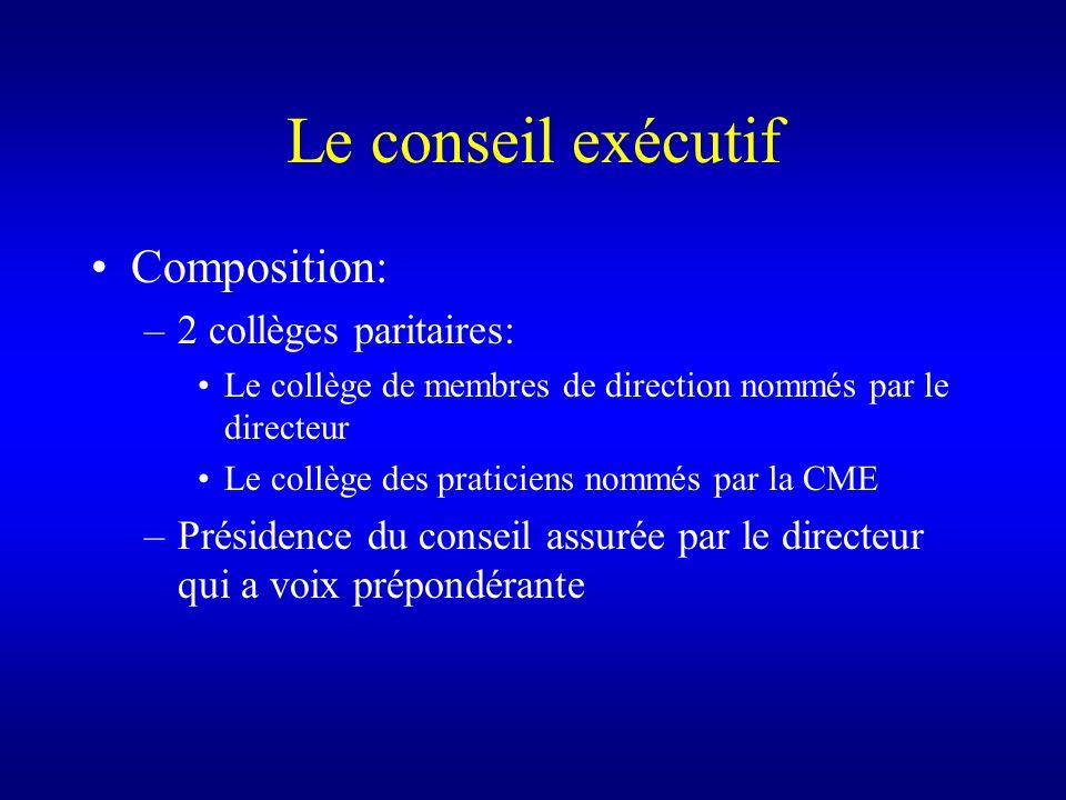 Le conseil exécutif Composition: –2 collèges paritaires: Le collège de membres de direction nommés par le directeur Le collège des praticiens nommés p