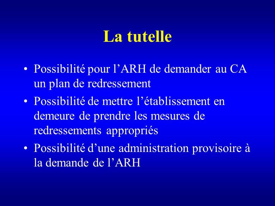 La tutelle Possibilité pour lARH de demander au CA un plan de redressement Possibilité de mettre létablissement en demeure de prendre les mesures de r