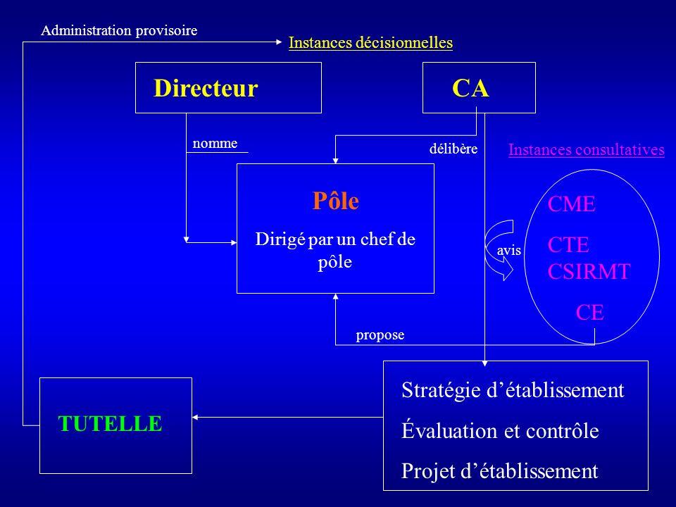 CA Stratégie détablissement Évaluation et contrôle Projet détablissement Directeur Pôle Dirigé par un chef de pôle CME CTE CSIRMT CE avis délibère Ins