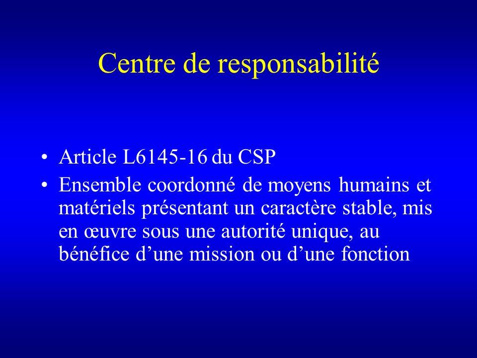 Centre de responsabilité Article L6145-16 du CSP Ensemble coordonné de moyens humains et matériels présentant un caractère stable, mis en œuvre sous u