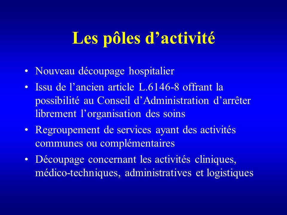 Les pôles dactivité Nouveau découpage hospitalier Issu de lancien article L.6146-8 offrant la possibilité au Conseil dAdministration darrêter libremen