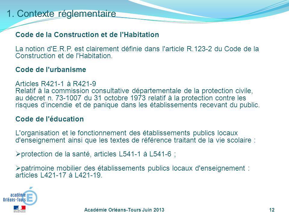 Académie Orléans-Tours Juin 201312 Code de la Construction et de l'Habitation La notion d'E.R.P. est clairement définie dans l'article R.123-2 du Code