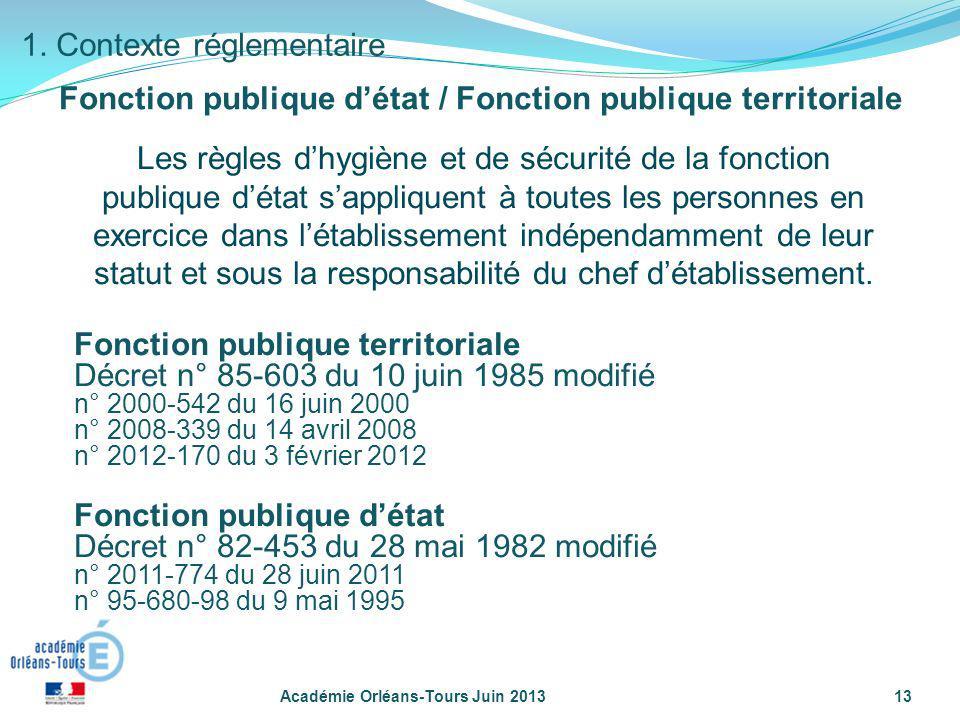 Académie Orléans-Tours Juin 201313 1. Contexte réglementaire Les règles dhygiène et de sécurité de la fonction publique détat sappliquent à toutes les