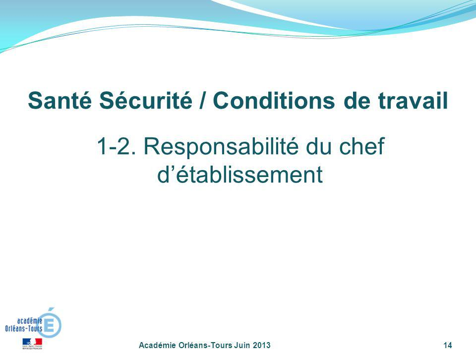 Académie Orléans-Tours Juin 201314 1-2. Responsabilité du chef détablissement Santé Sécurité / Conditions de travail
