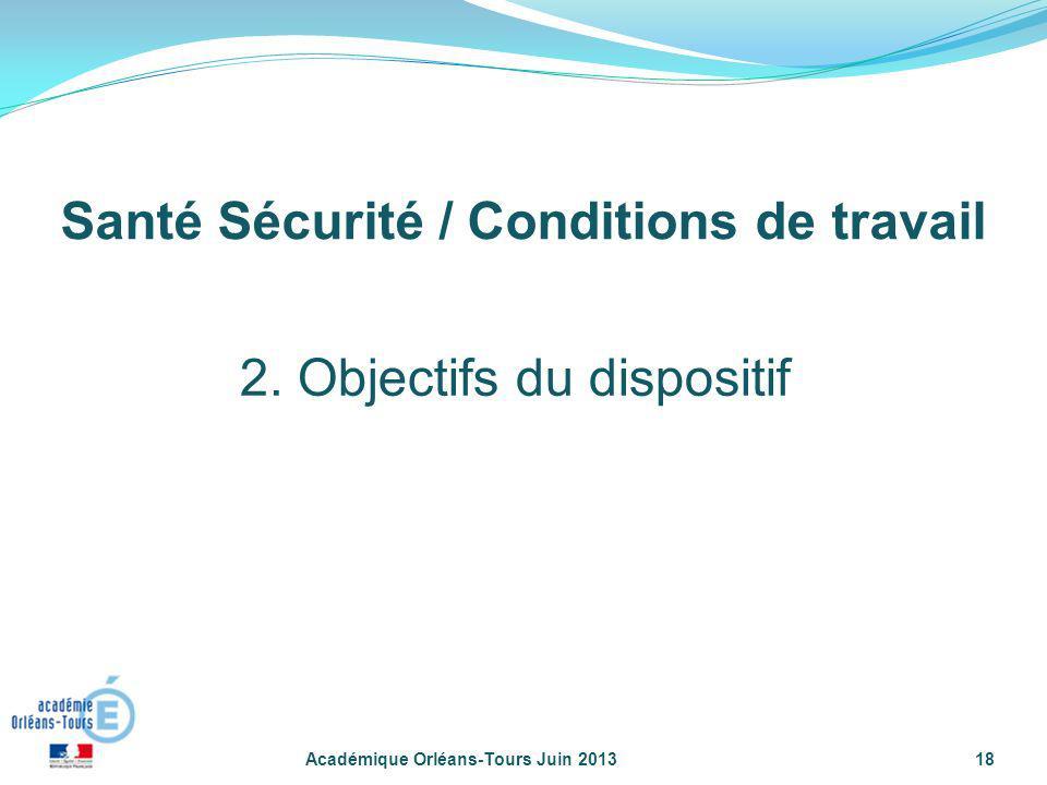 Académique Orléans-Tours Juin 201318 2. Objectifs du dispositif Santé Sécurité / Conditions de travail