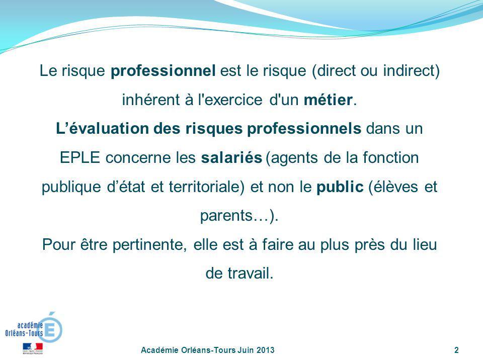 Académie Orléans-Tours Juin 20132 Le risque professionnel est le risque (direct ou indirect) inhérent à l'exercice d'un métier. Lévaluation des risque