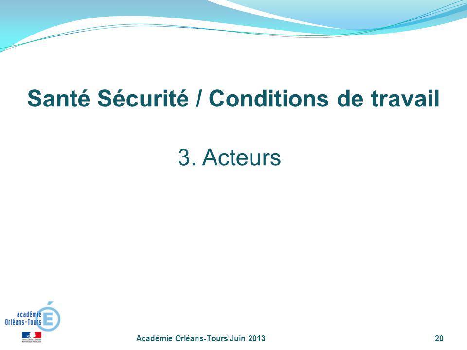Académie Orléans-Tours Juin 201320 3. Acteurs Santé Sécurité / Conditions de travail