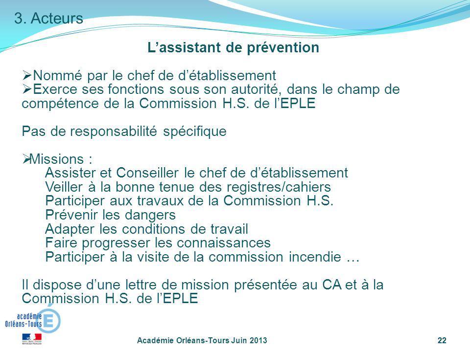 22 Lassistant de prévention Nommé par le chef de détablissement Exerce ses fonctions sous son autorité, dans le champ de compétence de la Commission H