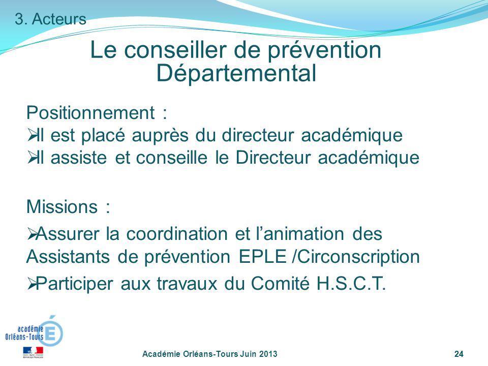 24 Le conseiller de prévention Départemental Académie Orléans-Tours Juin 201324 Positionnement : Il est placé auprès du directeur académique Il assist