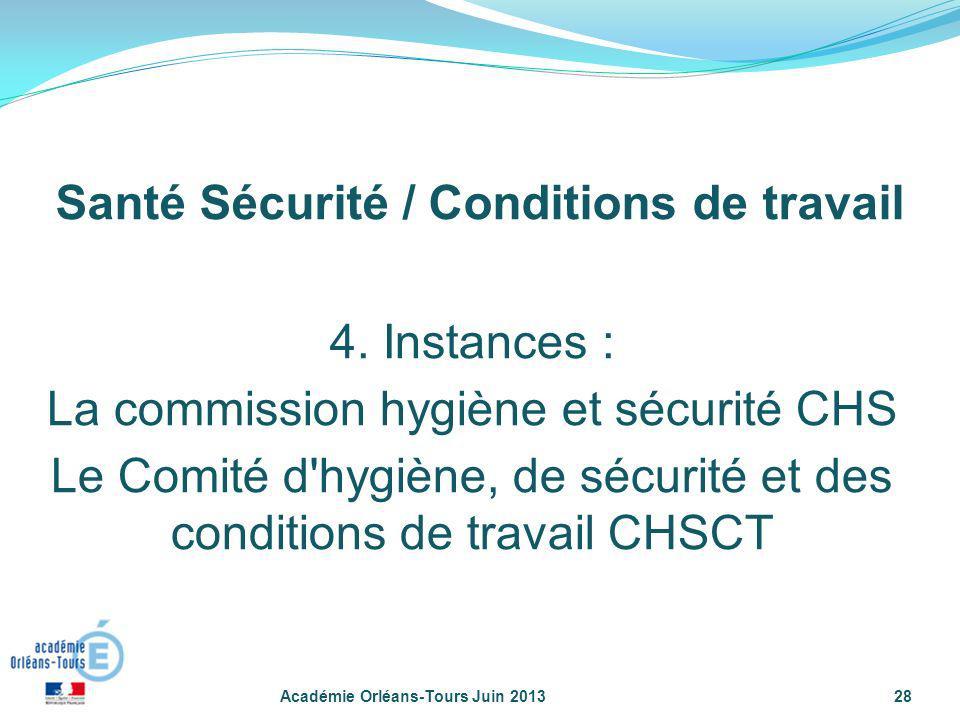 28 4. Instances : La commission hygiène et sécurité CHS Le Comité d'hygiène, de sécurité et des conditions de travail CHSCT Santé Sécurité / Condition