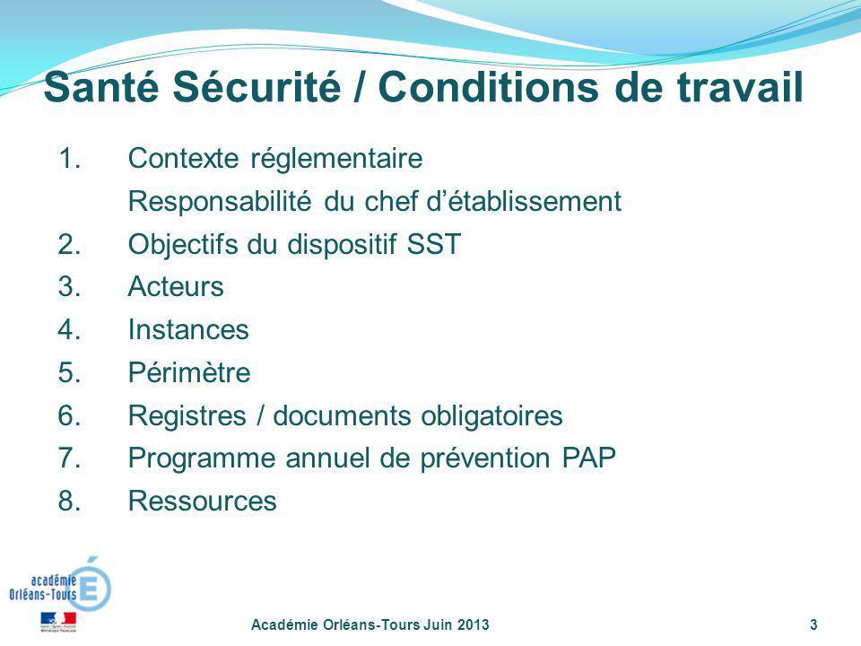 1.Contexte réglementaire Responsabilité du chef détablissement 2.Objectifs du dispositif SST 3.Acteurs 4.Instances 5.Périmètre 6.Registres / documents