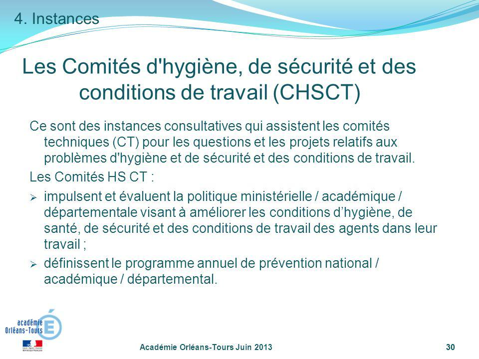 30 Académie Orléans-Tours Juin 201330 Les Comités d'hygiène, de sécurité et des conditions de travail (CHSCT) Ce sont des instances consultatives qui