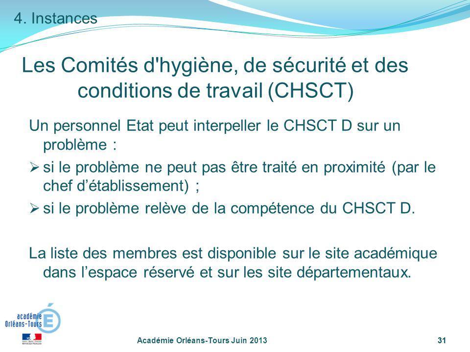 31 Académie Orléans-Tours Juin 201331 Les Comités d'hygiène, de sécurité et des conditions de travail (CHSCT) Un personnel Etat peut interpeller le CH