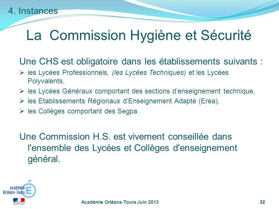32 Académie Orléans-Tours Juin 201332 Une CHS est obligatoire dans les établissements suivants : les Lycées Professionnels, (les Lycées Techniques) et