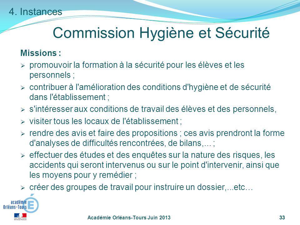 33 Académie Orléans-Tours Juin 201333 Commission Hygiène et Sécurité Missions : promouvoir la formation à la sécurité pour les élèves et les personnel