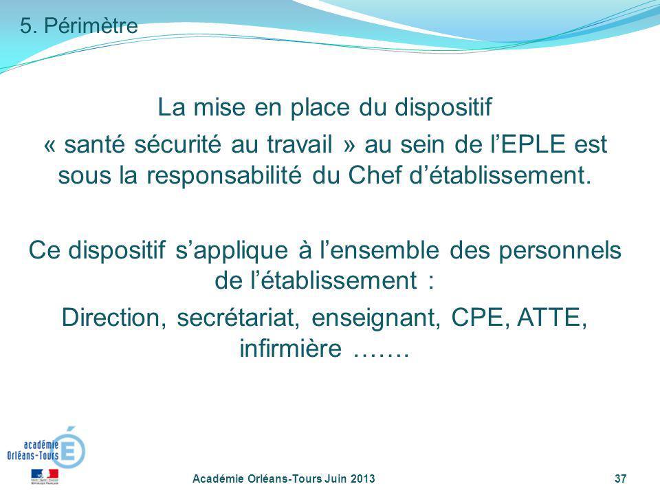 Académie Orléans-Tours Juin 201337 La mise en place du dispositif « santé sécurité au travail » au sein de lEPLE est sous la responsabilité du Chef dé