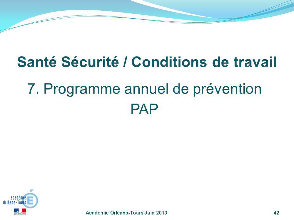 Académie Orléans-Tours Juin 201342 7. Programme annuel de prévention PAP Santé Sécurité / Conditions de travail