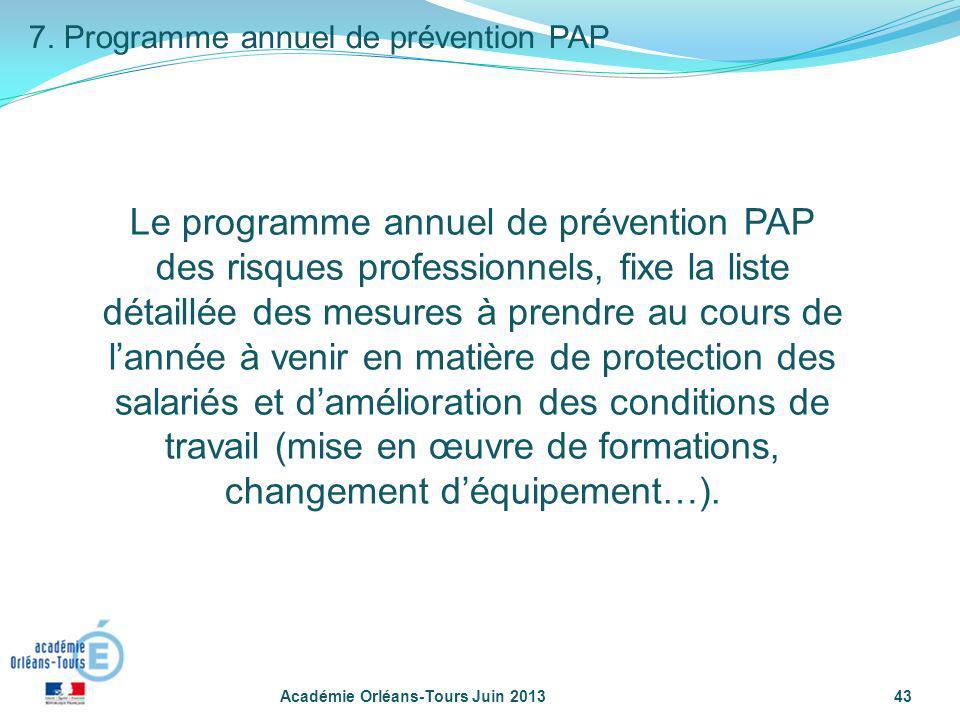 Académie Orléans-Tours Juin 201343 7. Programme annuel de prévention PAP Le programme annuel de prévention PAP des risques professionnels, fixe la lis