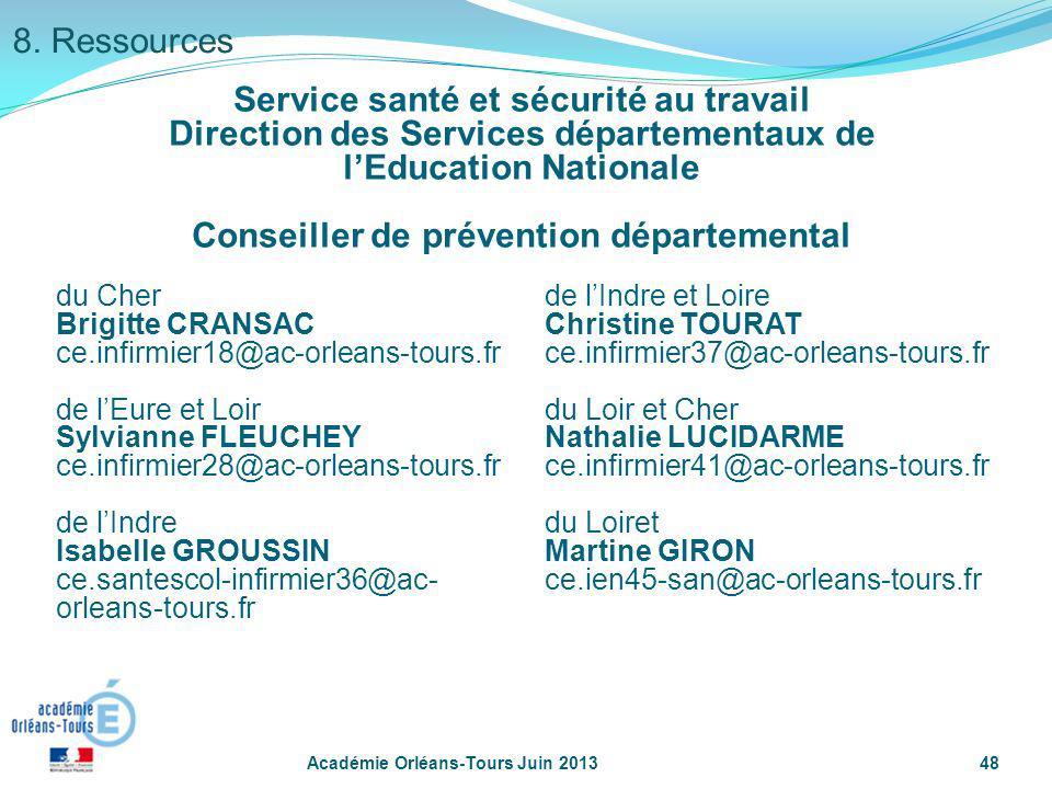 Académie Orléans-Tours Juin 201348 Service santé et sécurité au travail Direction des Services départementaux de lEducation Nationale Conseiller de pr