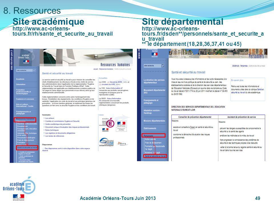 Académie Orléans-Tours Juin 201349 8. Ressources Site académique http://www.ac-orleans- tours.fr/rh/sante_et_securite_au_travail Site départemental ht