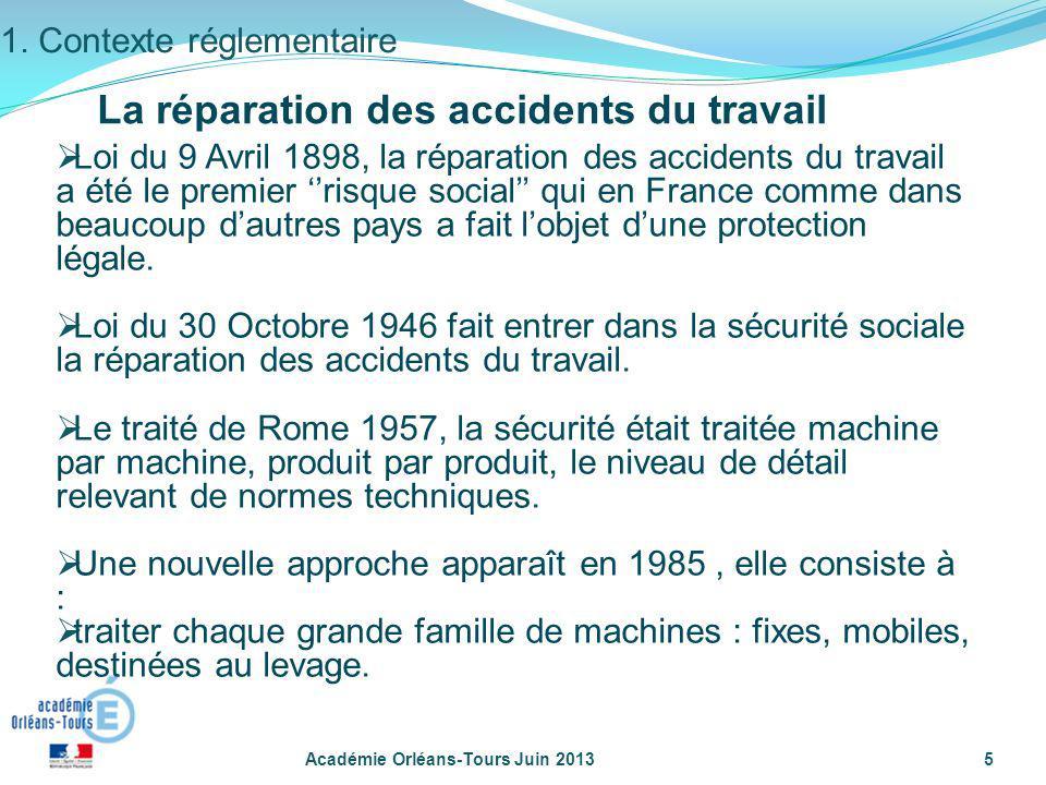 Académie Orléans-Tours Juin 20135 1. Contexte réglementaire Loi du 9 Avril 1898, la réparation des accidents du travail a été le premier risque social