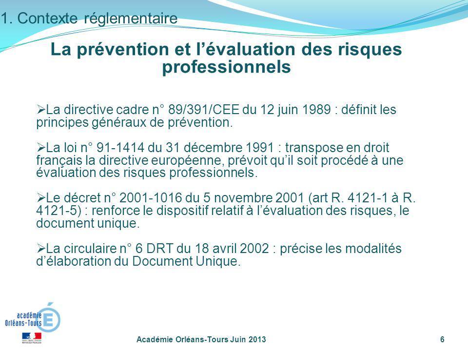 Académie Orléans-Tours Juin 20136 1. Contexte réglementaire La directive cadre n° 89/391/CEE du 12 juin 1989 : définit les principes généraux de préve
