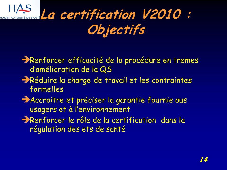 14 La certification V2010 : Objectifs Renforcer efficacité de la procédure en tremes damélioration de la QS Réduire la charge de travail et les contraintes formelles Accroitre et préciser la garantie fournie aus usagers et à lenvironnement Renforcer le rôle de la certification dans la régulation des ets de santé