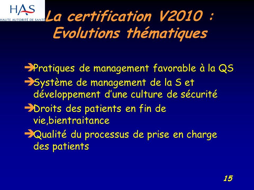 15 La certification V2010 : Evolutions thématiques Pratiques de management favorable à la QS Système de management de la S et développement dune culture de sécurité Droits des patients en fin de vie,bientraitance Qualité du processus de prise en charge des patients