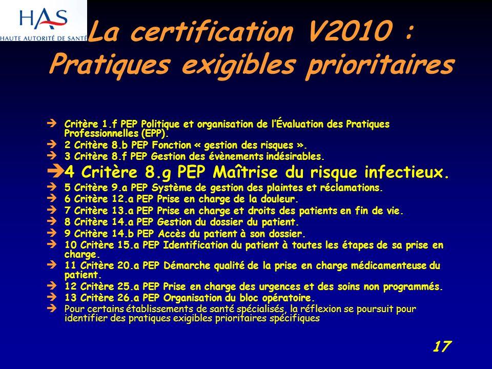 17 La certification V2010 : Pratiques exigibles prioritaires Critère 1.f PEP Politique et organisation de lÉvaluation des Pratiques Professionnelles (EPP).