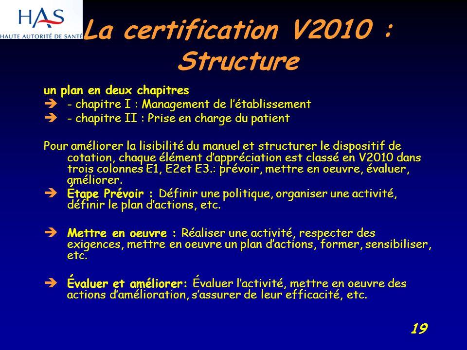 19 La certification V2010 : Structure un plan en deux chapitres - chapitre I : Management de létablissement - chapitre II : Prise en charge du patient Pour améliorer la lisibilité du manuel et structurer le dispositif de cotation, chaque élément dappréciation est classé en V2010 dans trois colonnes E1, E2et E3.: prévoir, mettre en oeuvre, évaluer, améliorer.