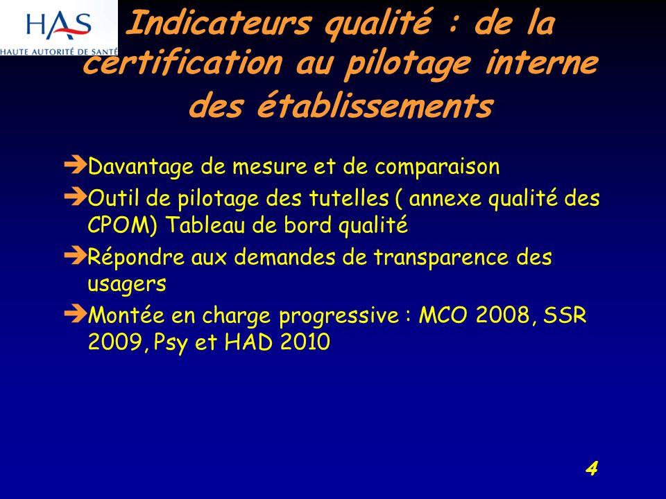 4 Indicateurs qualité : de la certification au pilotage interne des établissements Davantage de mesure et de comparaison Outil de pilotage des tutelles ( annexe qualité des CPOM) Tableau de bord qualité Répondre aux demandes de transparence des usagers Montée en charge progressive : MCO 2008, SSR 2009, Psy et HAD 2010