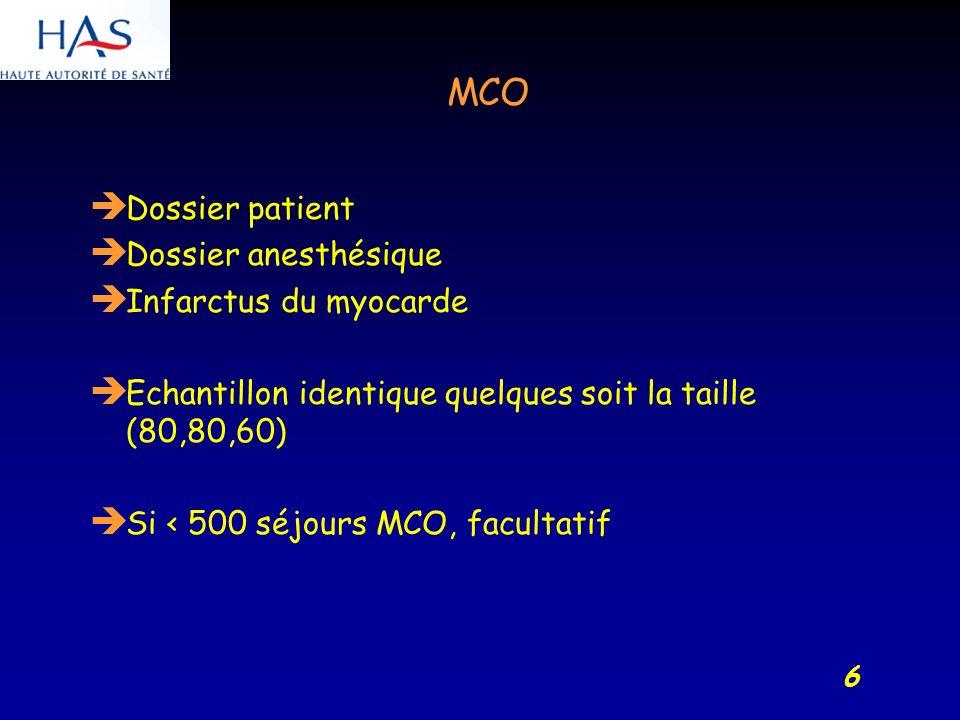 6 MCO Dossier patient Dossier anesthésique Infarctus du myocarde Echantillon identique quelques soit la taille (80,80,60) Si < 500 séjours MCO, facultatif