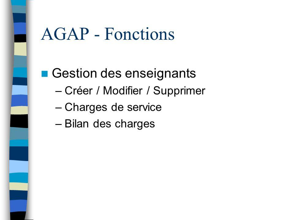 AGAP - Fonctions Gestion des enseignants –Créer / Modifier / Supprimer –Charges de service –Bilan des charges