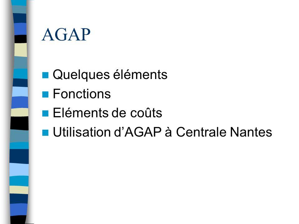 AGAP Quelques éléments Fonctions Eléments de coûts Utilisation dAGAP à Centrale Nantes