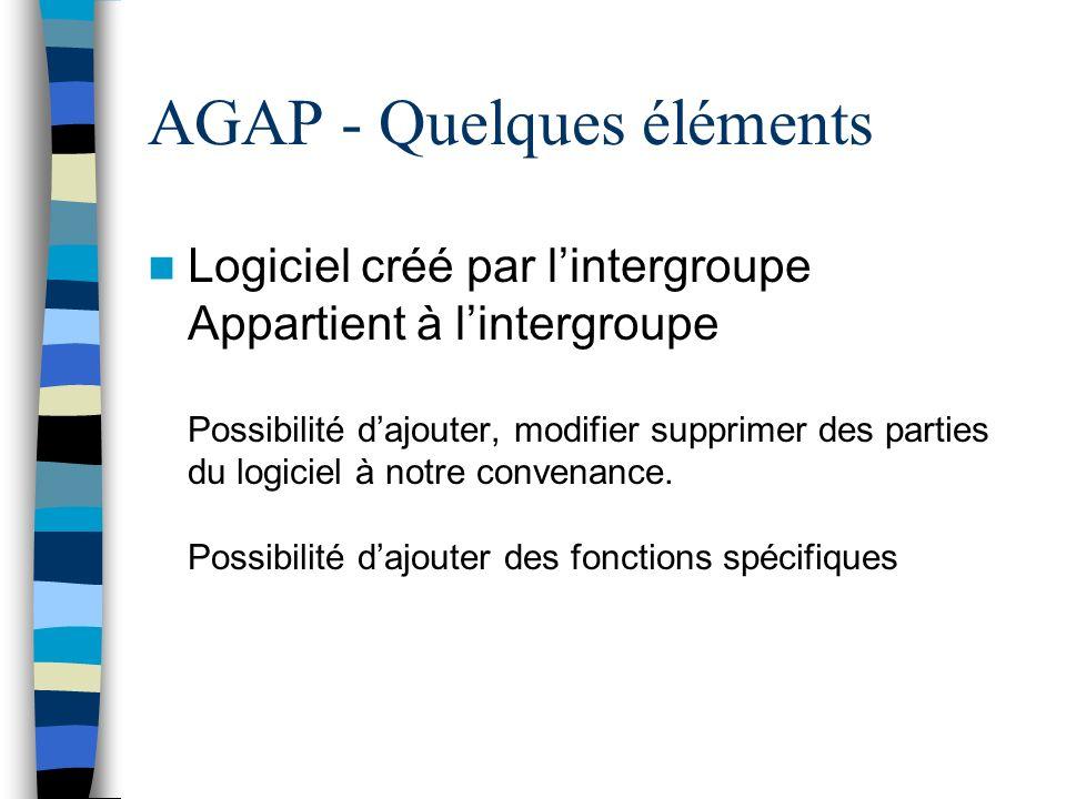 AGAP - Quelques éléments Logiciel créé par lintergroupe Appartient à lintergroupe Possibilité dajouter, modifier supprimer des parties du logiciel à notre convenance.