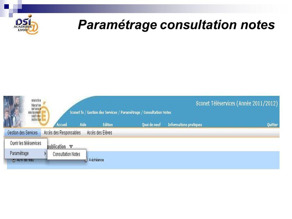 le Chef détablissement définit les paramètres propres à chaque Télé-Service 3 Paramétrage consultation notes