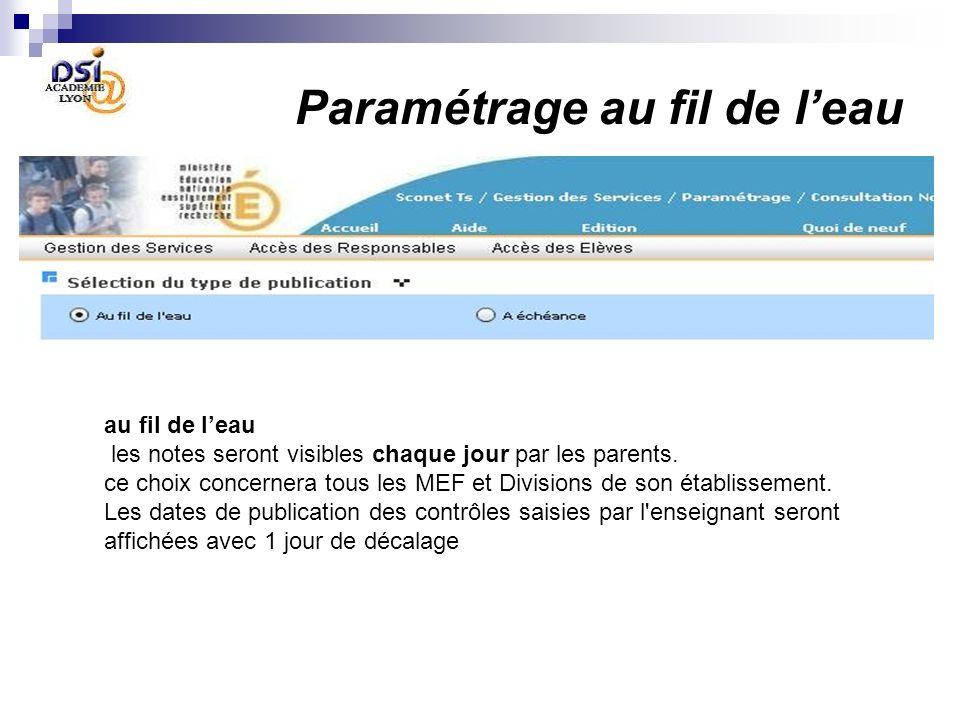 Paramétrage au fil de leau au fil de leau les notes seront visibles chaque jour par les parents. ce choix concernera tous les MEF et Divisions de son