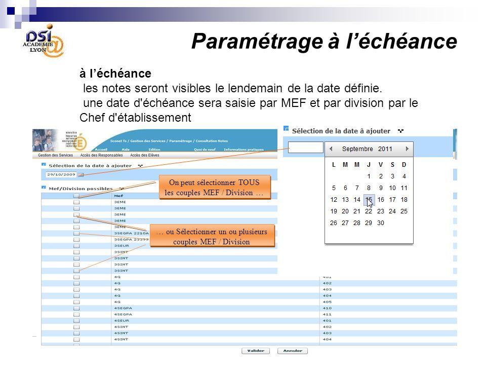 Paramétrage à léchéance à léchéance les notes seront visibles le lendemain de la date définie. une date d'échéance sera saisie par MEF et par division