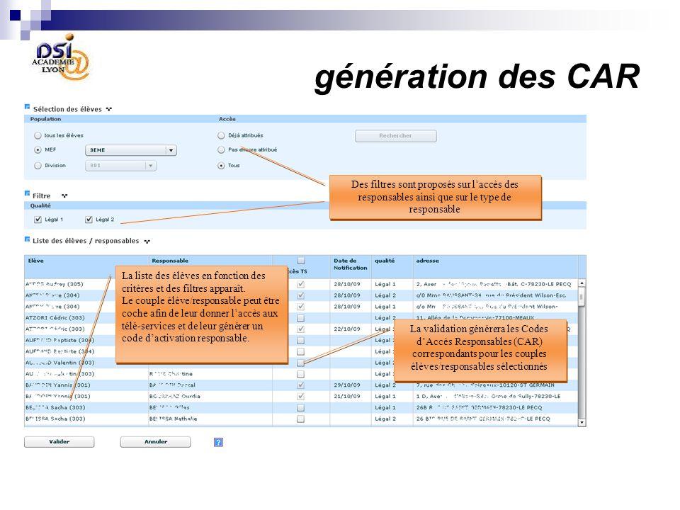 génération des CAR La validation générera les Codes dAccès Responsables (CAR) correspondants pour les couples élèves/responsables sélectionnés La liste des élèves en fonction des critères et des filtres apparaît.