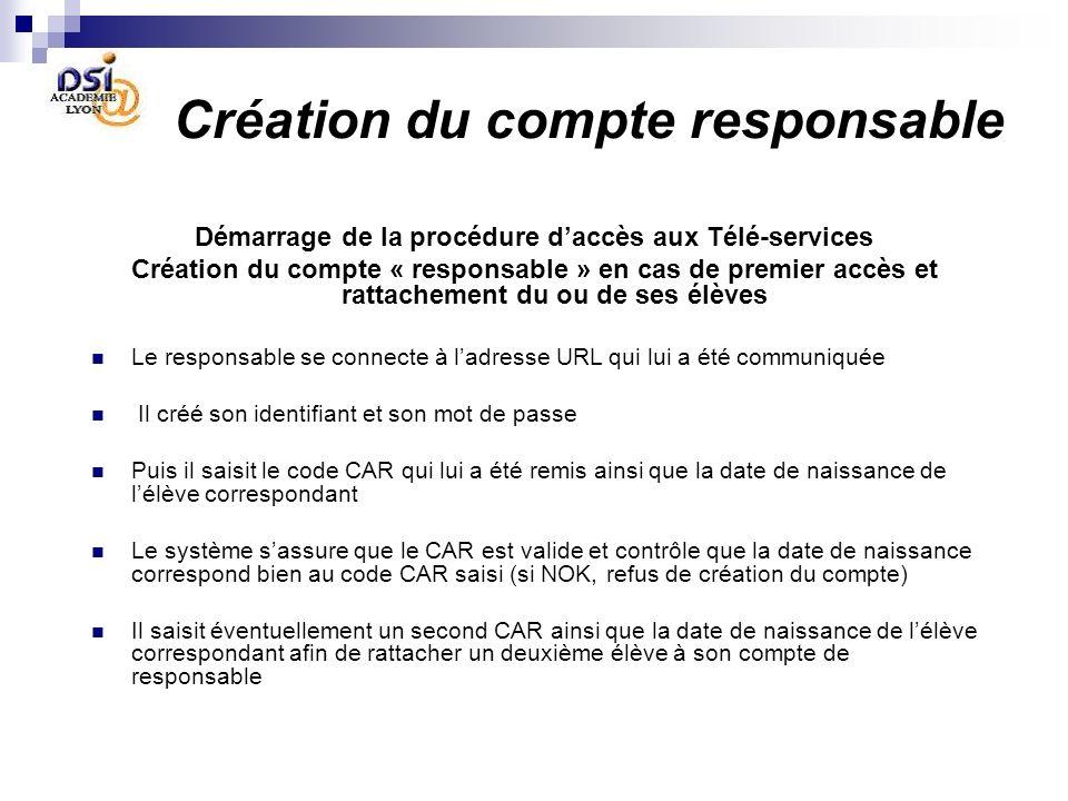 Création du compte responsable Démarrage de la procédure daccès aux Télé-services Création du compte « responsable » en cas de premier accès et rattac